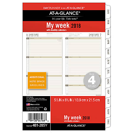 "AT-A-GLANCE® Day Runner® Planner Refill, Weekly/Monthly, 5 1/2"" x 8 1/2"", January to December 2018 (481-285Y-18)"