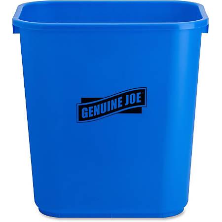 "Genuine Joe Recycle Wastebasket, 15""H x 14 1/2""W x 10 1/2""D, 7.13-Gallon Capacity, Blue"