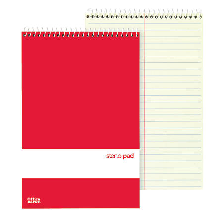 "Office Depot® Brand Steno Books, 6"" x 9"", Gregg Ruled, 70 Sheets, Greentint, Pack Of 12"