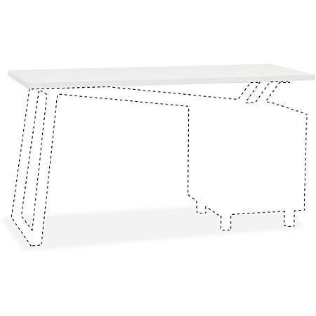 """Mayline Glass Top for 2-Drawer Pedestal V-Desk Base - 0.31"""" Table Top Thickness x 55"""" Width x 23.50"""" Depth - Assembly Required - White"""