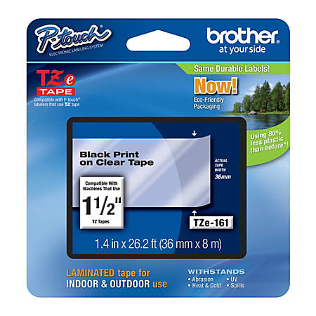 "Brother® TZe-161 Black-On-Clear Security Tape, 1.5"" x 26.2'"