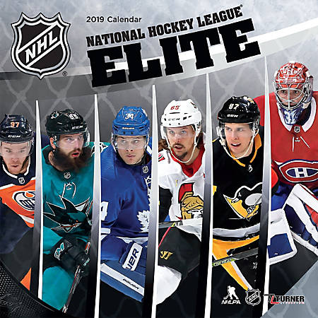 """Turner Sports Monthly Wall Calendar, 12"""" x 12"""", NHL Elite, January to December 2019"""