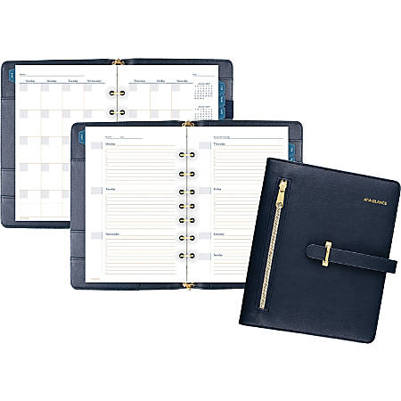 """AT-A-GLANCE® Buckle Closure Undated Desk Start Set, Weekly/Monthly, 5 1/2"""" x 8 1/2"""", 7-Ring, Navy"""