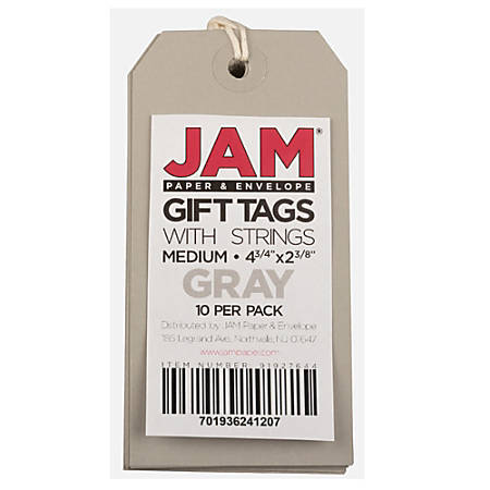 """JAM Paper® Gift Tags, 4 3/4"""" x 2 3/8"""", Gray, Pack Of 10"""