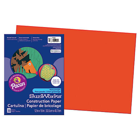 "SunWorks® Construction Paper, 12"" x 18"", Orange, Pack Of 50"