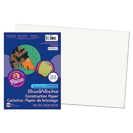 """SunWorks® Construction Paper, 12"""" x 18"""", White, Pack Of 50"""