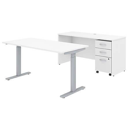 "Bush Business Furniture Studio C 60""W x 30""D Height Adjustable Standing Desk, Credenza and One Mobile File Cabinet, White, Premium Installation"