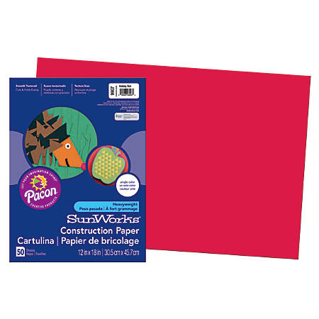 """SunWorks® Construction Paper, 12"""" x 18"""", Holiday Red, Pack Of 50"""