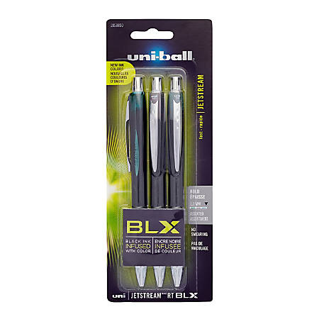 uni-ball® JetStream™ Ballpoint Pens, Bold Point, 1.0 mm, Assorted Ink Colors, Pack Of 3
