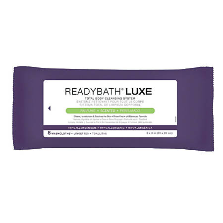 """ReadyBath LUXE Total Body Cleansing Heavyweight Washcloths, Scented, 8"""" x 8"""", White, 8 Washcloths Per Pack, Case Of 24 Packs"""
