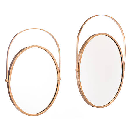 "Zuo Modern Oval Mirrors, 24 7/16""H x 16 3/4""W x 1 1/4""D, Gold, Set Of 2 Mirrors"