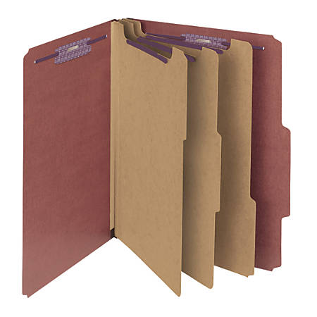 "Smead® Pressboard Classification Folders With SafeSHIELD® Fasteners, 3 Dividers, 3"" Expansion, Letter Size, 100% Recycled, Red, Box Of 10"