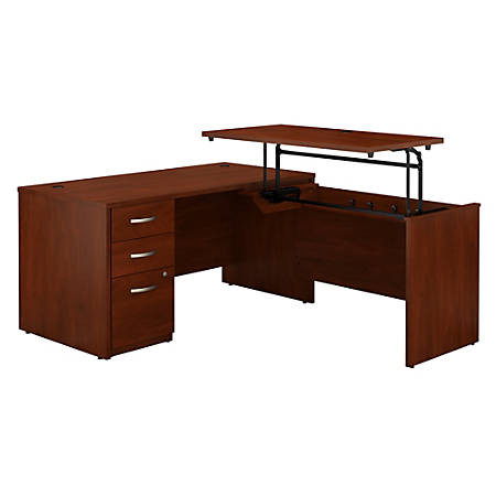 """Bush Business Furniture Components Elite 60""""W 3 Position Sit to Stand L Shaped Desk with 3 Drawer File Cabinet, Hansen Cherry, Standard Delivery"""