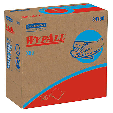 "Kimberly-Clark Professional™ Wipers WypAll™ X60 Pop-Up™ Box, 9 1/10"" x 16 4/5"", Box Of 126"