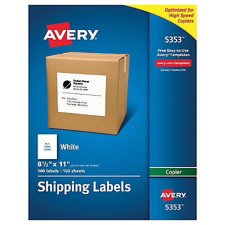 Avery Copier Permanent Address Labels 5353 8 12 X 11 White Pack Of