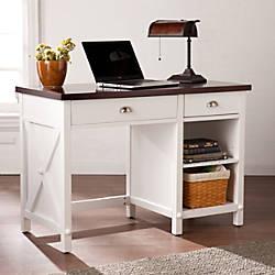 Southern Enterprises Amburg Farmhouse Desk WhiteCherrywood