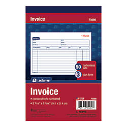 Adams Carbonless Invoice Book 3 Part