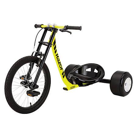 "Razor DXT Drift Trike, 9""H x 22 3/4""W x 38""D, Black/Yellow"