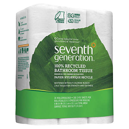 Seventh Generation® 2-Ply Bathroom Tissue, 100% Recycled, White, 300 Sheets Per Roll, Pack Of 24 Rolls