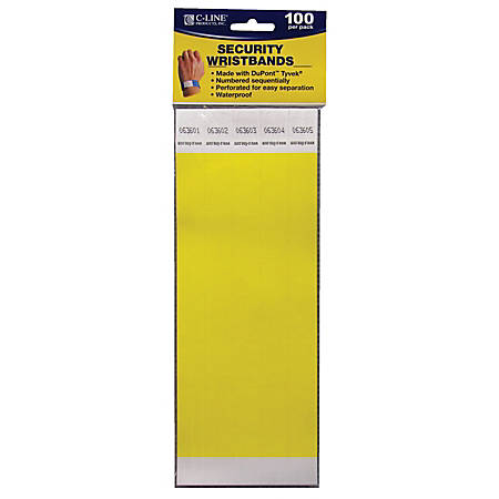 "C-Line® DuPont™ Tyvek® Security Wristbands, 3/4"" x 10"", Yellow, 100 Wristbands Per Pack, Set Of 2 Packs"