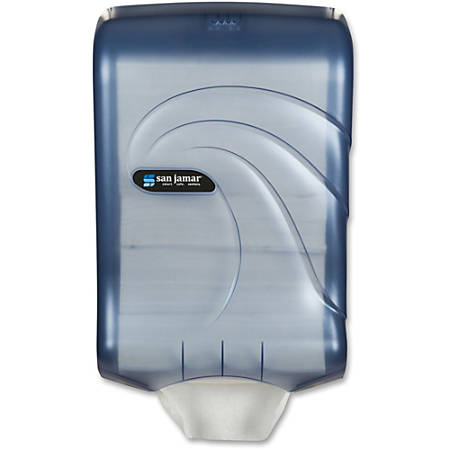 """San Jamar Large Capacity Ultrafold Multifold/C-Fold Towel Dispenser - C Fold, Multifold Dispenser - 450 C Fold, 750 Multifold - 18"""" Height x 11.8"""" Width x 6.3"""" Depth - Plastic - Arctic Blue - Durable, Impact Resistant, Hands-free, Touc"""