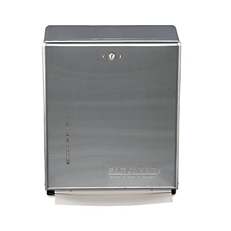 "San Jamar C-Fold/Multifold Towel Dispenser, 14 3/4""H x 11 3/8""W x 4""D, Silver"