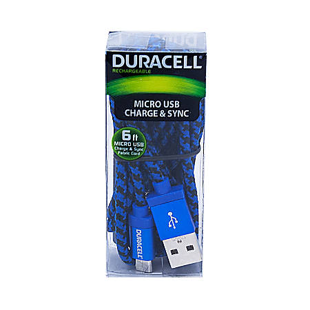 Duracell® Fabric Micro USB Cable, 6', Black/Blue, LE2240
