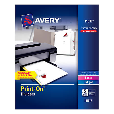"""Avery® Print-On™ Dividers, 8 1/2"""" x 11"""", 3-Hole Punched, 5-Tab, White Dividers/White Tabs, Pack Of 25 Sets"""