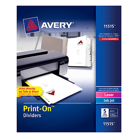 "Avery® Print-On™ Dividers, 8 1/2"" x 11"", 3-Hole Punched, 5-Tab, White Dividers/White Tabs, Pack Of 5 Sets"