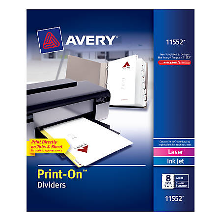 """Avery® Print-On™ Dividers, 8 1/2"""" x 11"""", 3-Hole Punched, 8-Tab, White Dividers/White Tabs, Pack Of 5 Sets"""