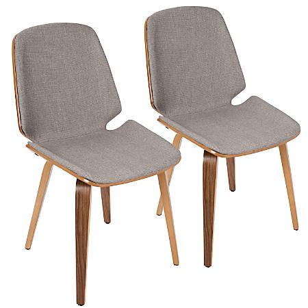 LumiSource Serena Mid-Century Modern Dining Chairs, Light Gray/Walnut, Set Of 2