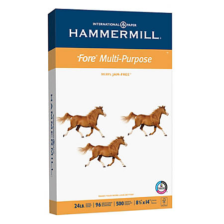 Hammermill® Fore Multipurpose Paper, Legal Size Paper, 24 Lb, White, Ream Of 500 Sheets