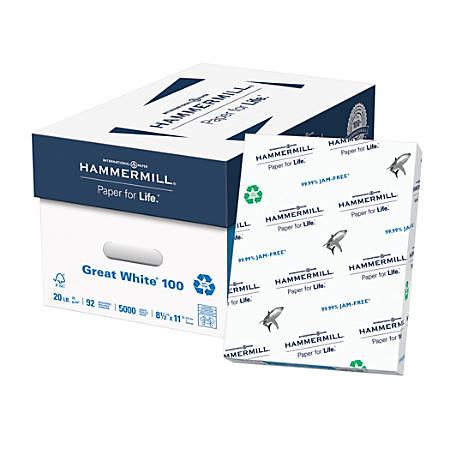 Hammermill® Great White® Copy Paper, Letter Size Paper, 20 Lb, 100% Recycled, 500 Sheets Per Ream, Case Of 10 Reams