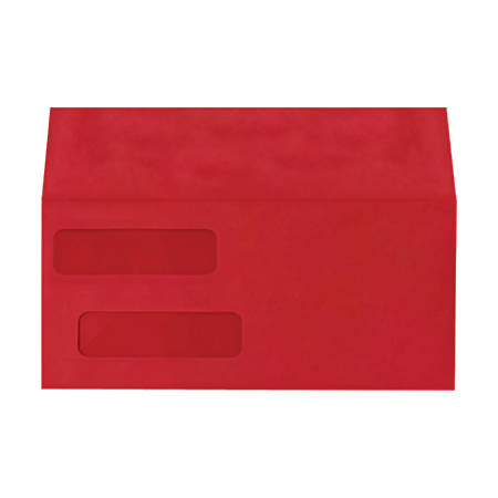 "LUX Double-Window Invoice Envelopes With Peel & Press Closure, #10, 4 1/8"" x 9 1/8"", Ruby Red, Pack Of 50"