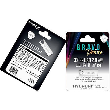 Hyundai Bravo Deluxe SILVER Keychain USB 2.0 Flash Drive 32GB Metal - Read Speed: Up to 10MB/s, Write Speed: Up to 3MB/s, Generation: 2.0 , Operation Temperature: 32° - 113° F (0° - 45 °C), Storage Temperature: 14° - 158° F(-10 °C - 70 °C)
