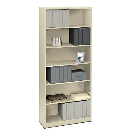 HON® Brigade® Steel Bookcase, 6 Shelves, Putty