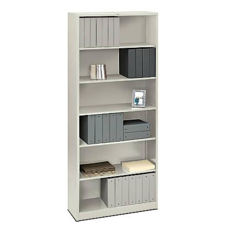 HON® Brigade® Steel Bookcase, 6 Shelves (4 Adjustable), Light Gray