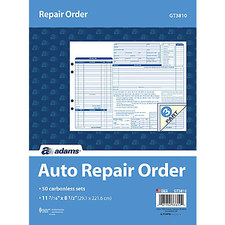 """Adams® Garage Repair Order Form Books, 3-Part, 8-1/2"""" x 11-7/16"""", 150 Pages, Blue, Pack Of 50 Books"""