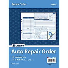 Adams Garage Repair Order Form Books