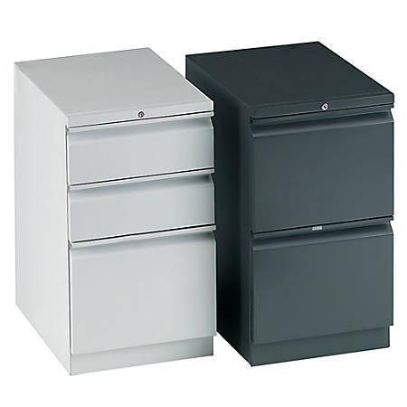 "HON® Brigade® 2-Drawer Mobile Pedestal, 28""H x 15""W x 19 7/8""D, ""R"" Pull, Black"