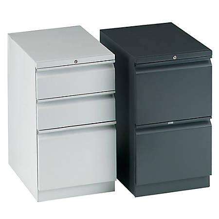 "HON® Efficiencies™ 3-Drawer Mobile Pedestal, 28""H x 15""W x 22 7/8""D, Light Gray"