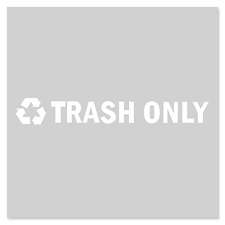 "Rubbermaid® Commercial Trash Only Decal With Recycling Symbol, 7"" x 1 3/4"", Black/White"