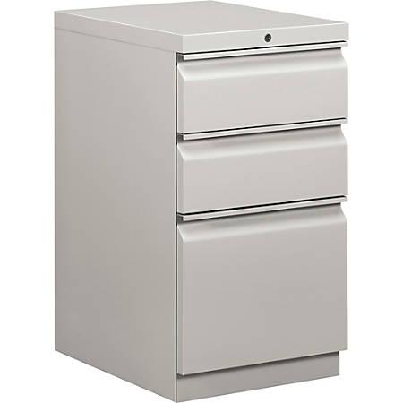 "HON® Efficiencies™ 3-Drawer Mobile Pedestal, 28""H x 15""W x 19 7/8""D, ""R"" Pull, Light Gray"