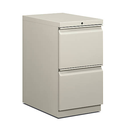 "HON® Brigade® 15""W Lateral 2-Drawer Mobile Pedestal Cabinet, Light Gray"