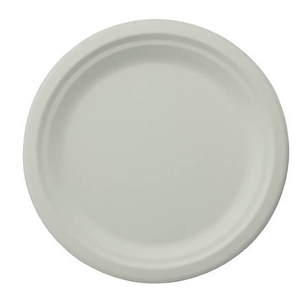 """Stalk Market Compostable Round Plates, 8-3/4"""", White, Pack Of 500 Plates"""