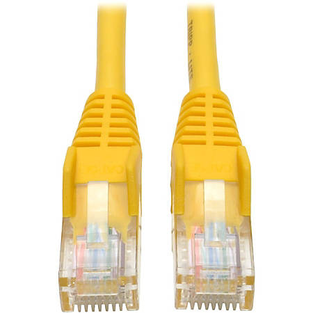 Tripp Lite 1ft Cat5e / Cat5 Snagless Molded Patch Cable RJ45 M/M Yellow 1' - 1 ft Category 5e Network Cable for Network Device - First End: 1 x RJ-45 Male Network - Second End: 1 x RJ-45 Male Network - Patch Cable - Yellow