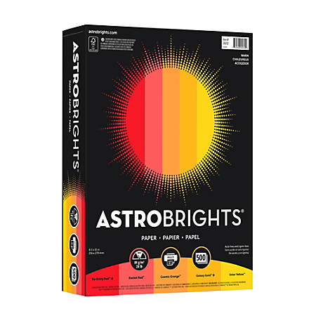 Neenah Astrobrights® Bright Color Paper, Letter Size Paper, 24 Lb, Assorted Colors, Ream Of 500 Sheets