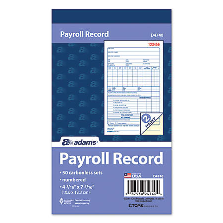 "Adams® 2-Part Carbonless Payroll Record Sets Book, 4 3/16"" x 7 3/16"", White/Canary, Pack Of 50 Sets"