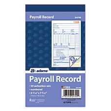 Adams 2 Part Carbonless Payroll Record