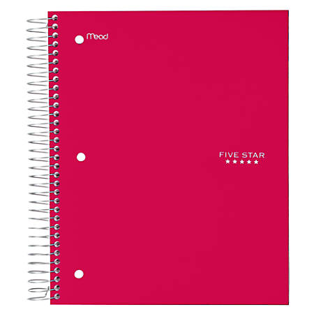 "Five Star® Trend Notebook, 8 Pockets, 8"" x 10 1/2"", 5 Subjects, Wide Ruled, 200 Sheets, Assorted Colors (No Color Choice)"